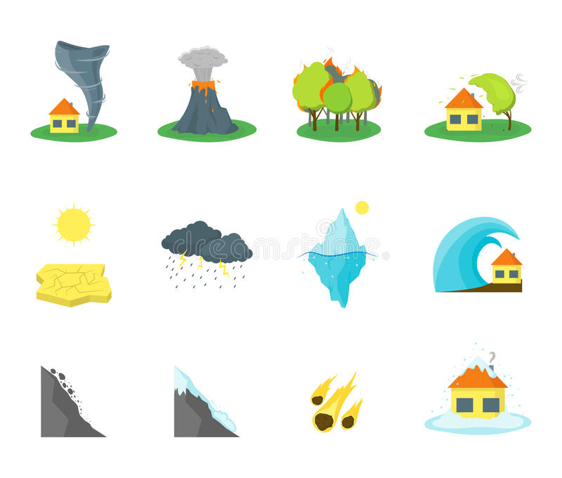 Uppsättning för symboler för tecknad filmnaturkatastroffärg vektor vektor illustrationer
