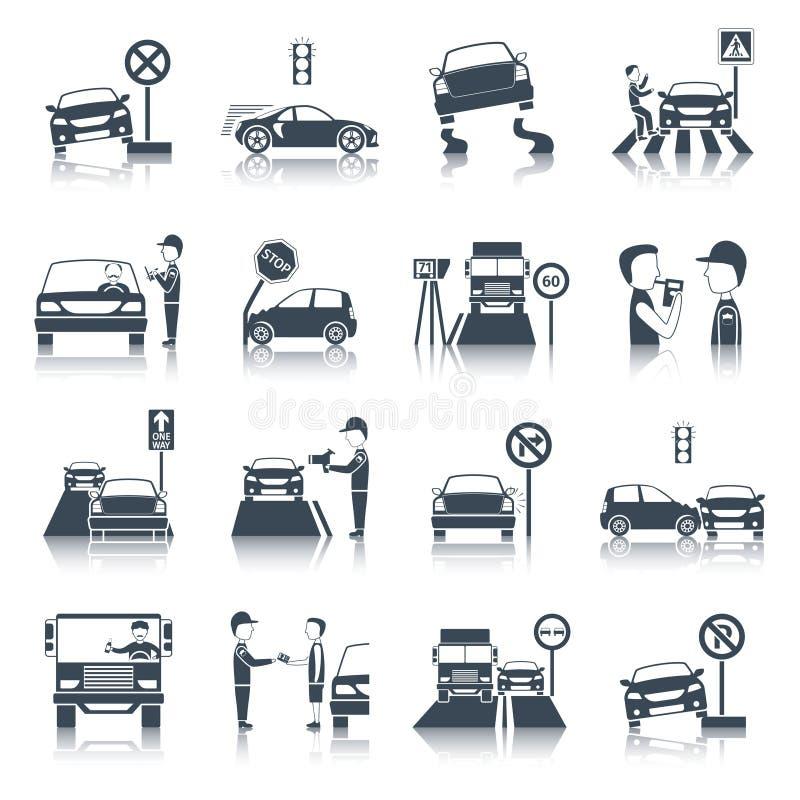 Uppsättning för symboler för trafikkränkning vektor illustrationer