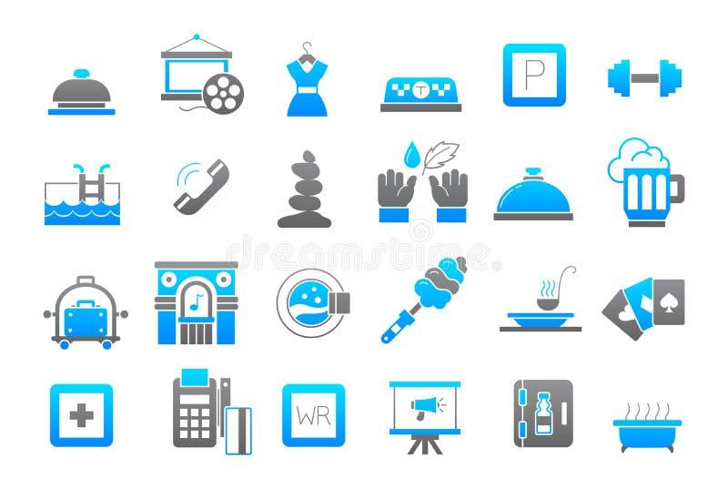 Uppsättning för symboler för underhållninggrå färg-blått vektor stock illustrationer