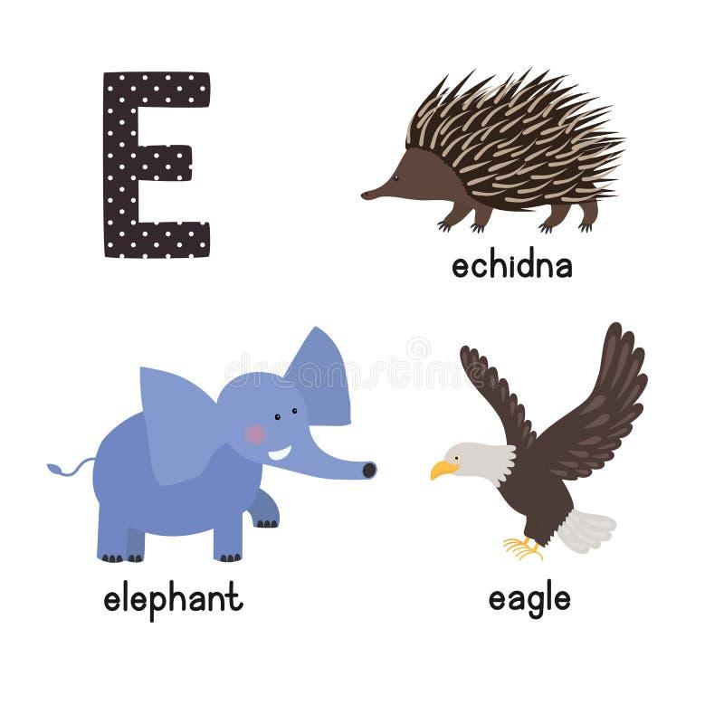 Uppsättning för symboler för unge för abcbokstav E rolig: örn echidna, elefant royaltyfri illustrationer