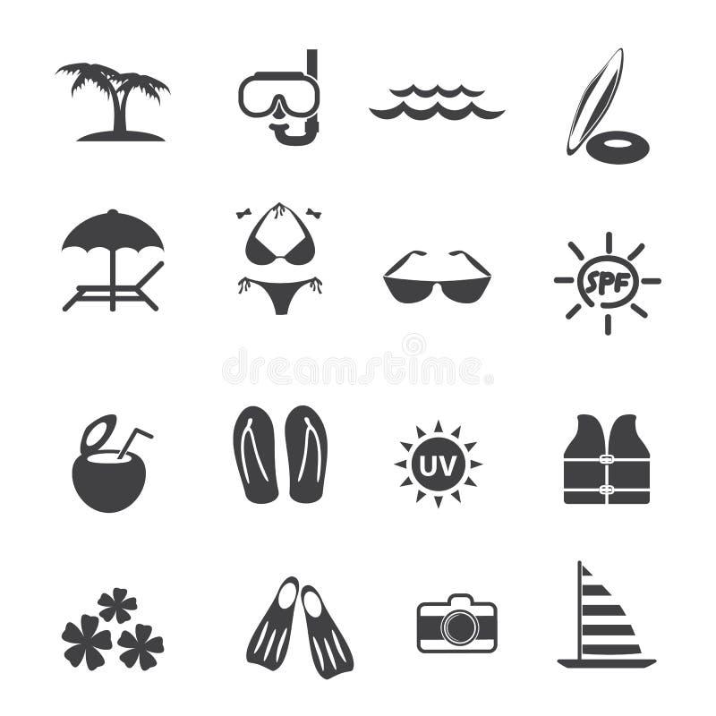 Uppsättning för symboler för utomhus- aktivitet för strand royaltyfri illustrationer
