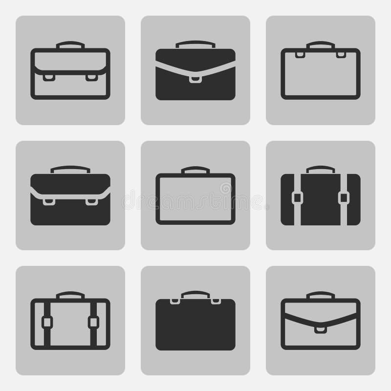 Uppsättning för symboler för vektorportföljsvart royaltyfri illustrationer
