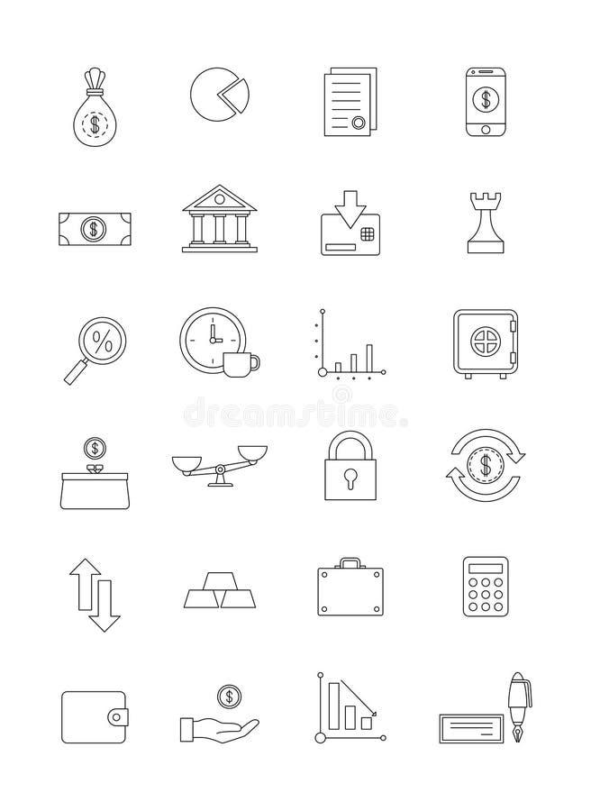 Uppsättning för symboler för vektorsvartfinans royaltyfri illustrationer
