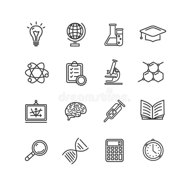 Uppsättning för symboler för vetenskapsöversiktssvart vektor stock illustrationer