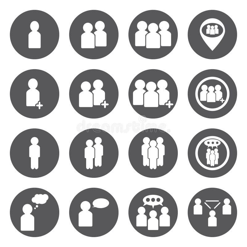 Uppsättning för symboler för vitt folk för vektor arkivbild
