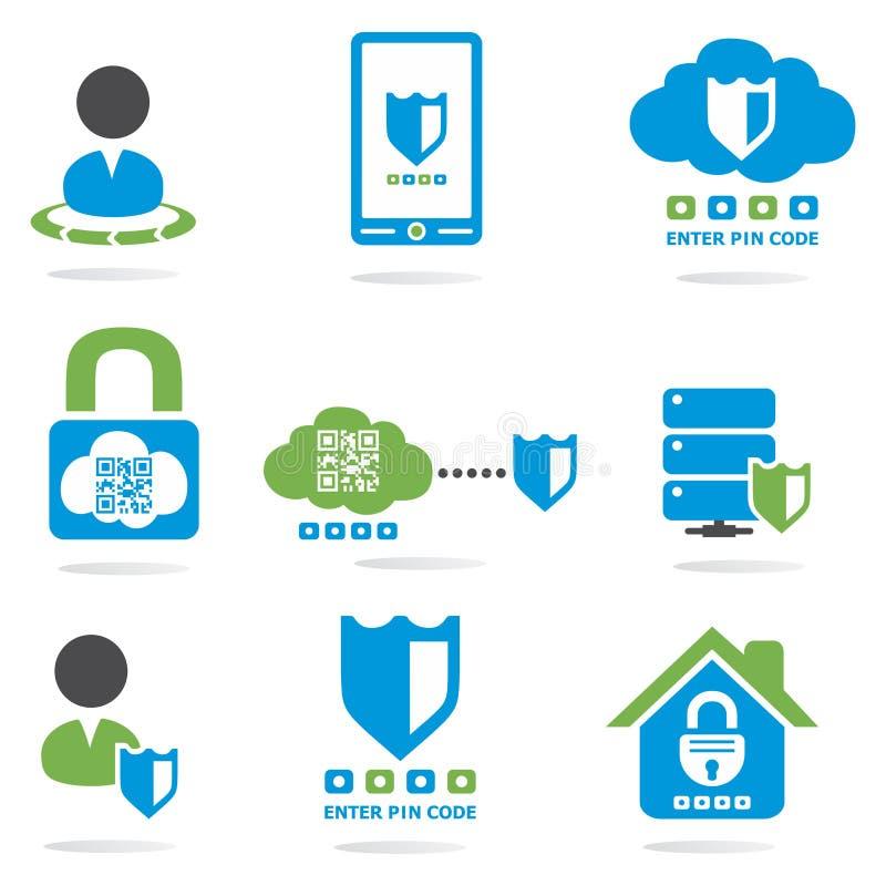 Uppsättning för symboler för website för datorsäkerhet vektor illustrationer