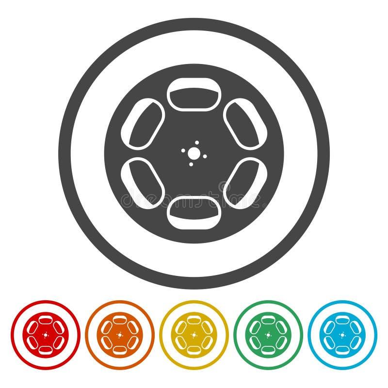 Uppsättning för symboler för filmrulle royaltyfri illustrationer
