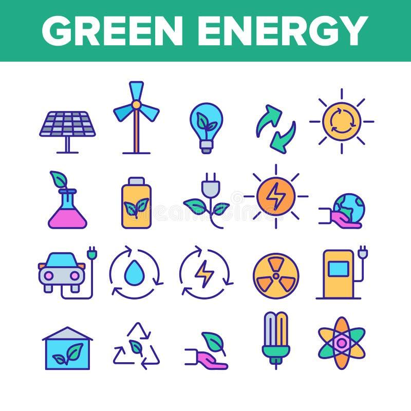 Uppsättning för symboler för grön vektor för energikällor linjär royaltyfri illustrationer