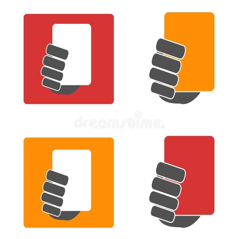 Uppsättning för symboler för gult och rött kort för fotboll stock illustrationer