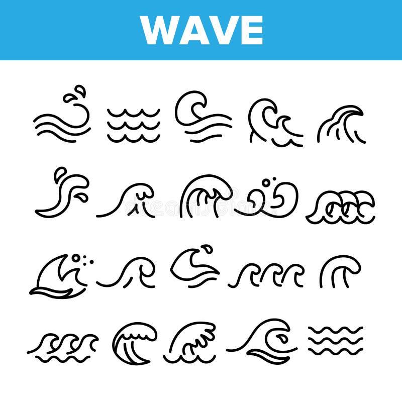 Uppsättning för symboler för havs- och havvågvektor linjär stock illustrationer