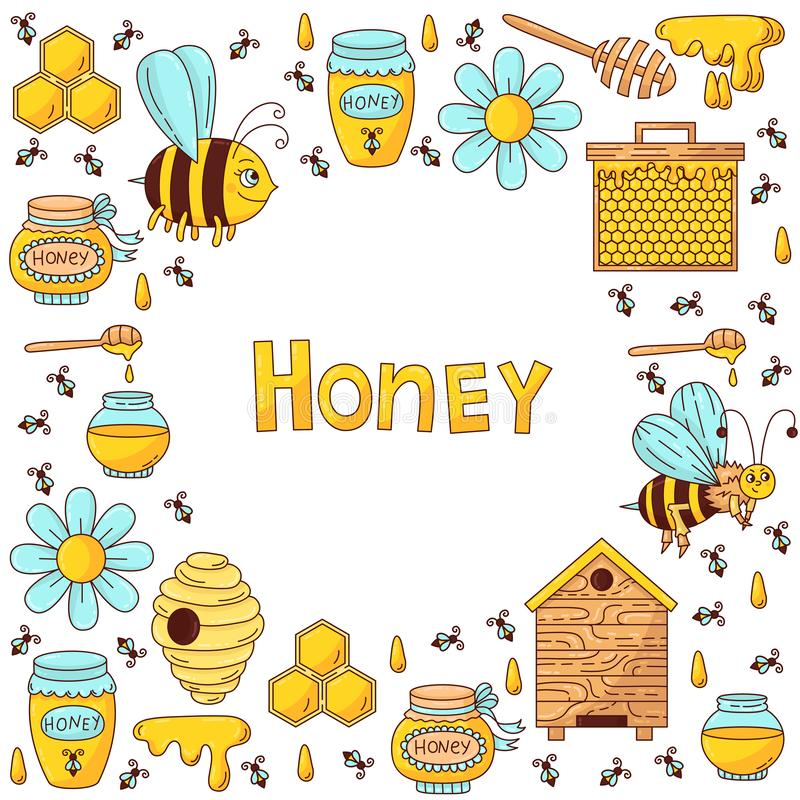 Uppsättning för symboler för honungbivektor royaltyfri illustrationer