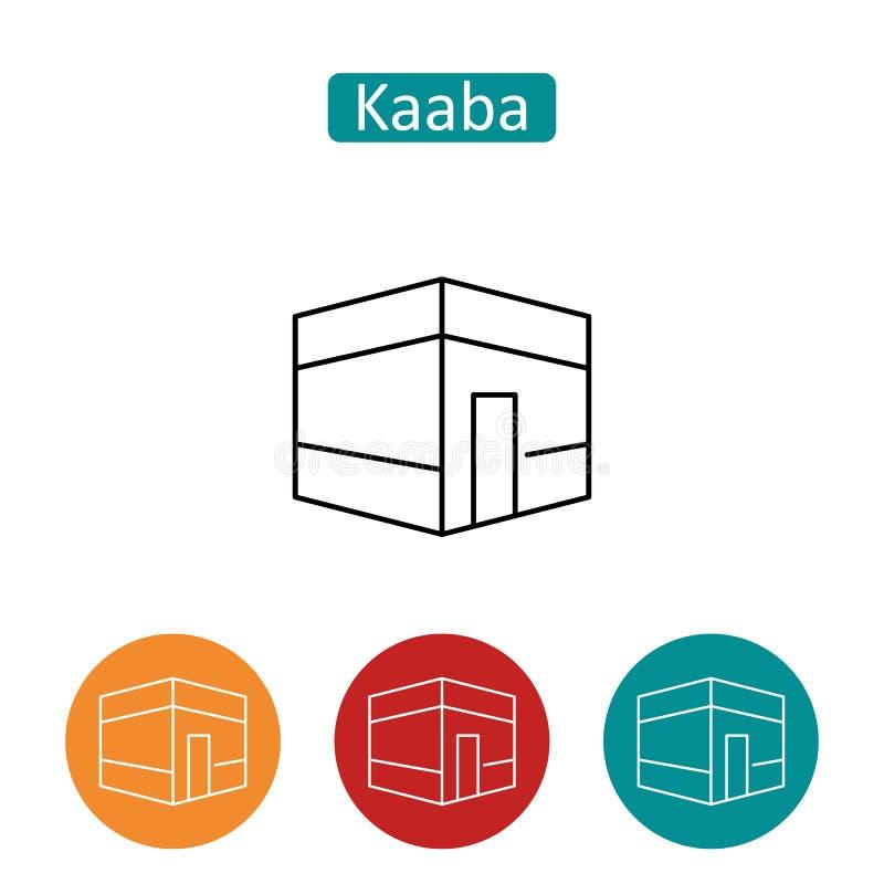 Uppsättning för symboler för Kaaba byggnadsöversikt vektor illustrationer