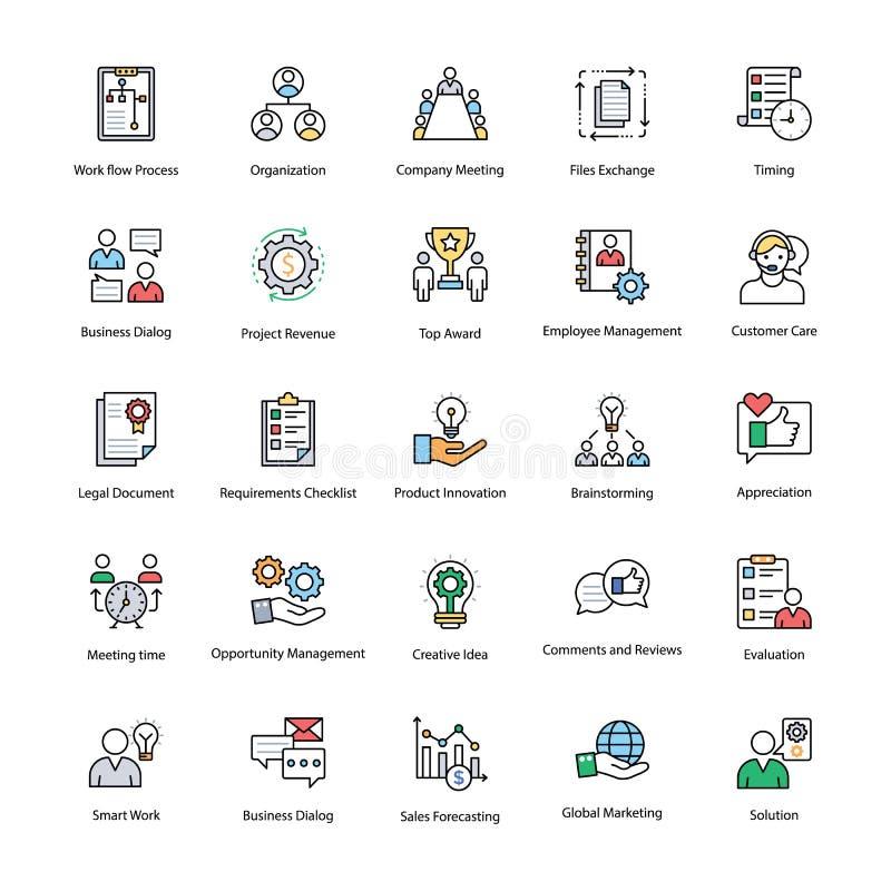 Uppsättning för symboler för lägenhet för affärsledning vektor illustrationer