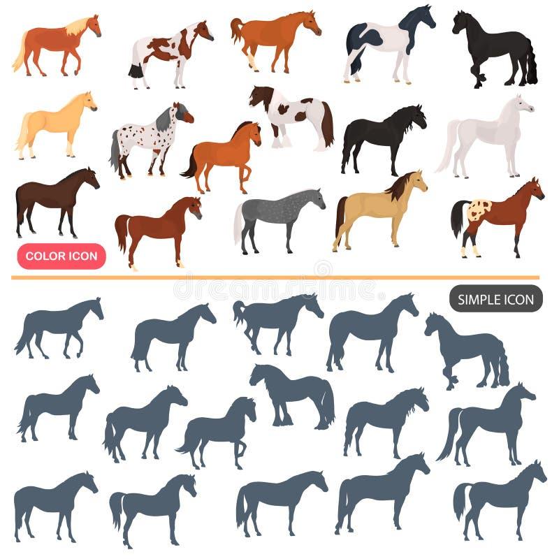 Uppsättning för symboler för lägenhet för hästavelfärg Uppsättning för symboler för svart silhoutte för häst enkel royaltyfri illustrationer