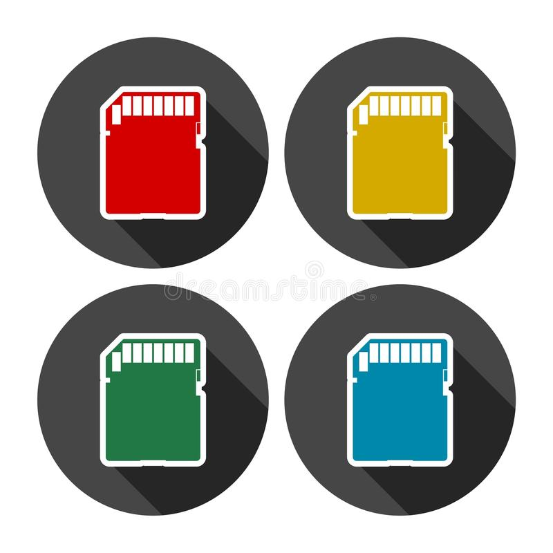 Uppsättning för symboler för lägenhet för SD-minneskort vektor illustrationer