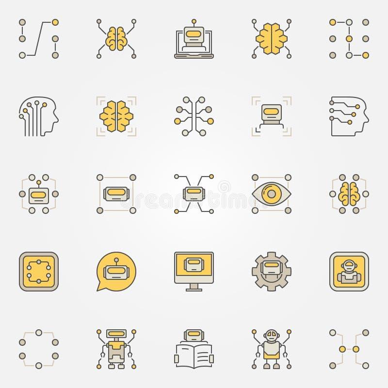 Uppsättning för symboler för lära för maskin färgrik vektor illustrationer