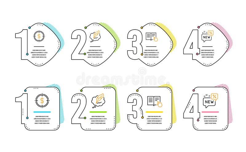 Uppsättning för symboler för läst anvisning, dollarmål och Copyright pratstund nytt tecken vektor vektor illustrationer