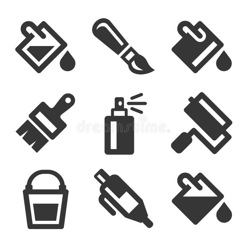 Uppsättning för symboler för målarfärghinkhjälpmedel vektor vektor illustrationer
