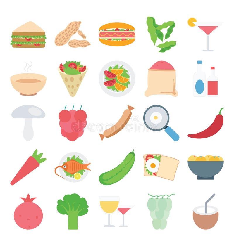 Uppsättning för symboler för mat-, frukt- och grönsakfärgvektor som kan lätt ändrat eller att redigera vektor illustrationer