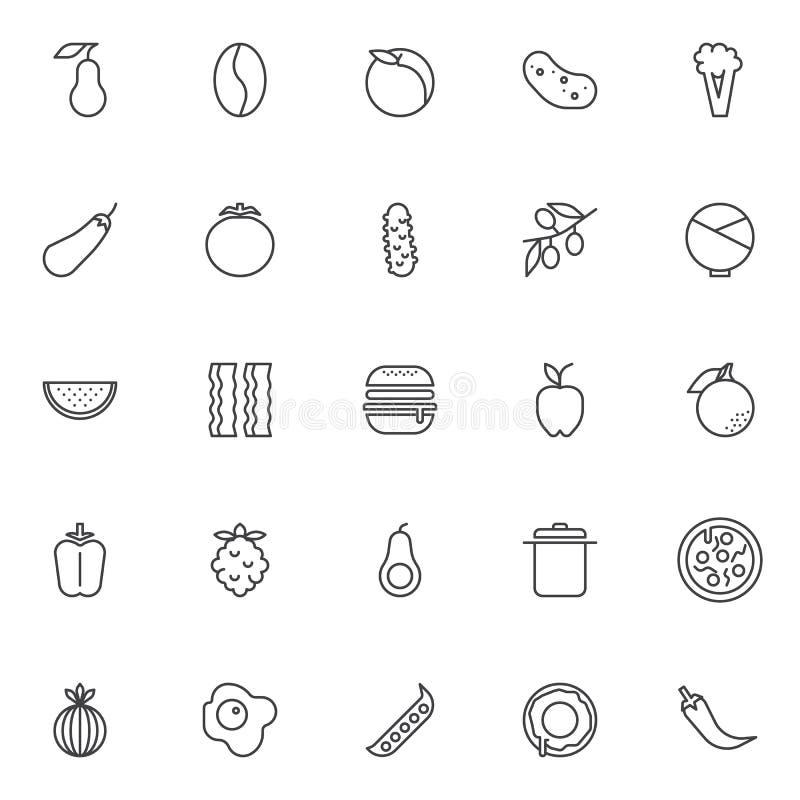 Uppsättning för symboler för matnäringöversikt stock illustrationer