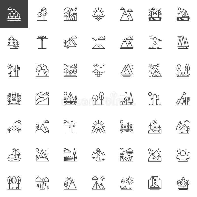Uppsättning för symboler för naturlandskapöversikt royaltyfri illustrationer