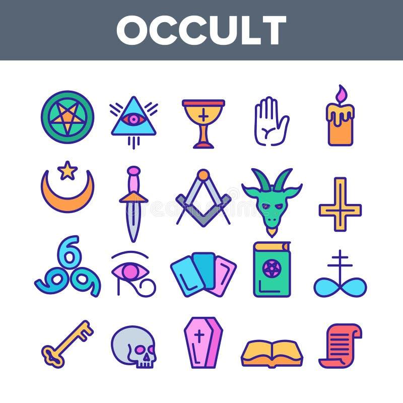 Uppsättning för symboler för ockult demonisk enhetsbildspråkvektor linjär stock illustrationer