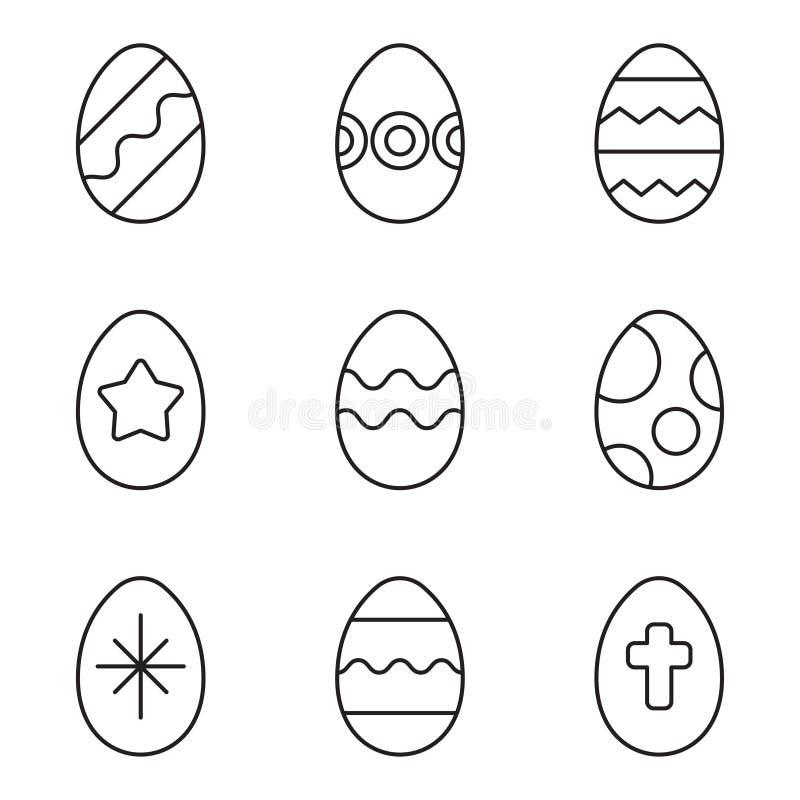 Uppsättning för symboler för påskägg stock illustrationer