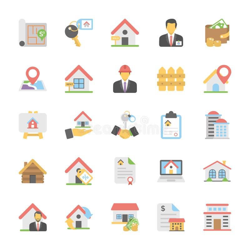 Uppsättning för symboler för Real Estate lägenhetvektor vektor illustrationer