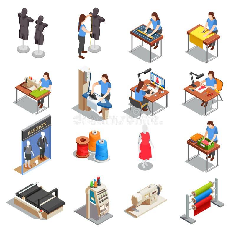 Uppsättning för symboler för sömnadfabrik isometrisk vektor illustrationer
