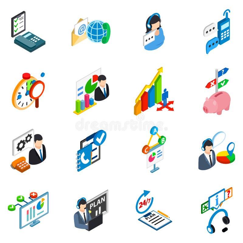 Uppsättning för symboler för serviceservice, isometrisk stil royaltyfri illustrationer