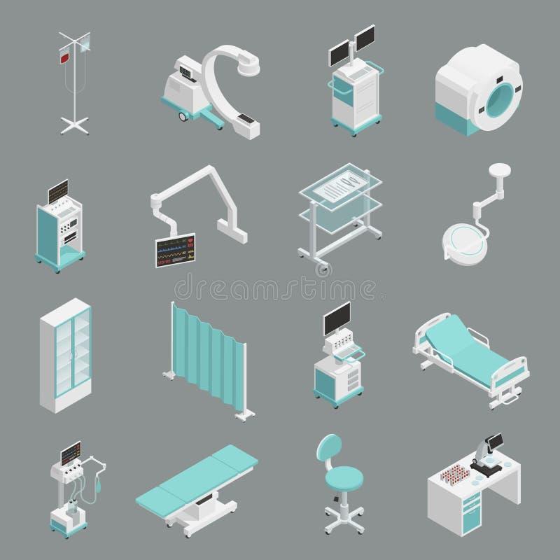 Uppsättning för symboler för sjukhusutrustning isometrisk stock illustrationer