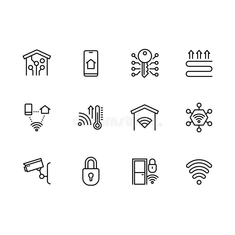 Uppsättning för symboler för smart symbol för hem- system enkel Innehåller symbolssmartphonen, den mobila appen, uppvärmning, tem royaltyfri illustrationer