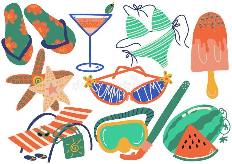 Uppsättning för symboler för sommarferie, Flip Flops, bikini, coctail, solglasögon, isglass, Chaise Longue, sjöstjärnavekto royaltyfri illustrationer