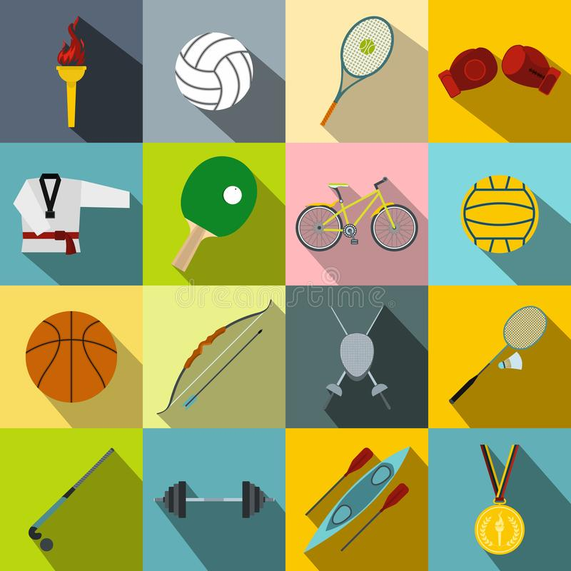 Uppsättning för symboler för sommarsportlägenhet royaltyfri illustrationer