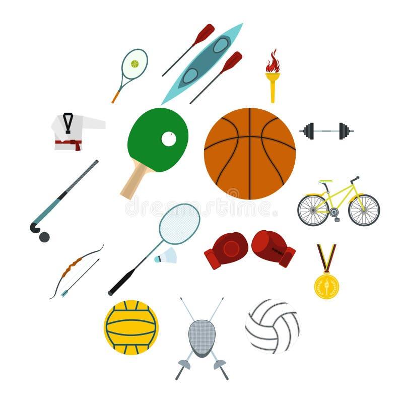 Uppsättning för symboler för sommarsportlägenhet vektor illustrationer