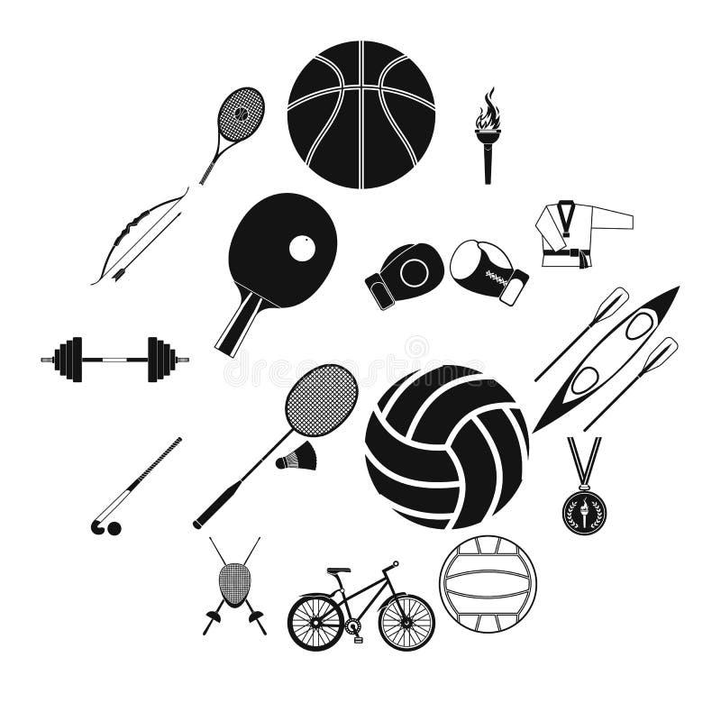 Uppsättning för symboler för sommarsportsvart enkel royaltyfri illustrationer