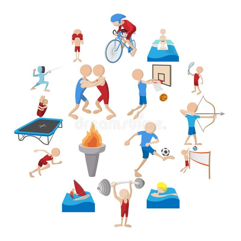 Uppsättning för symboler för sommarsporttecknad film stock illustrationer