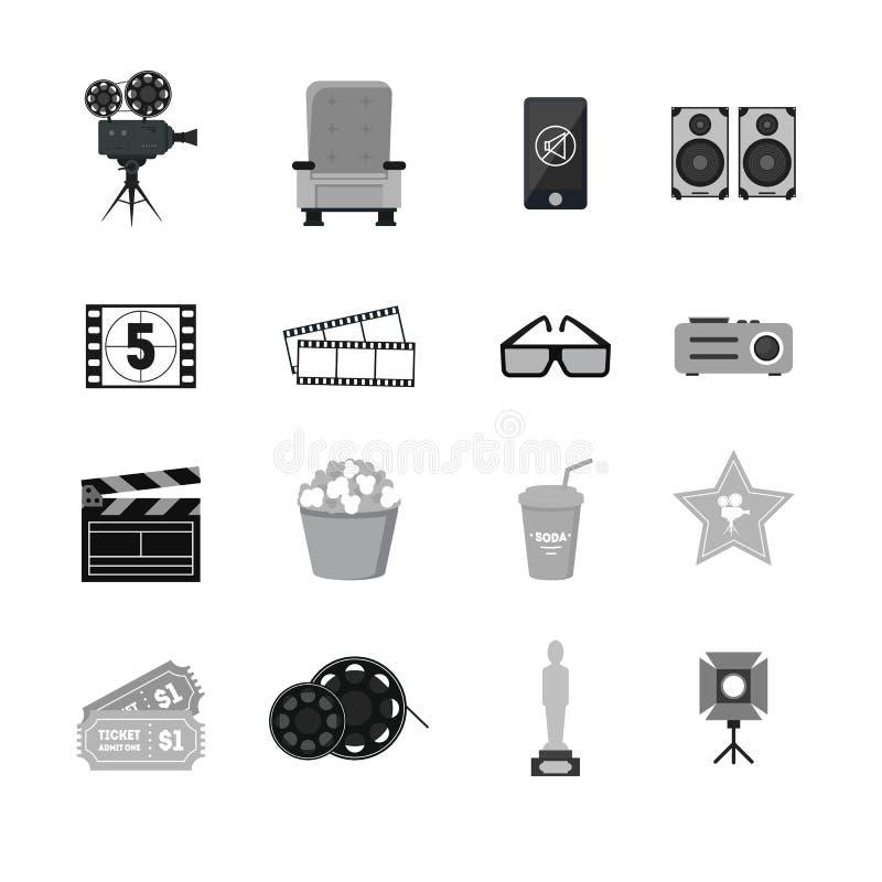 Uppsättning för symboler för svart för tecknad filmbiokontur vektor royaltyfri illustrationer