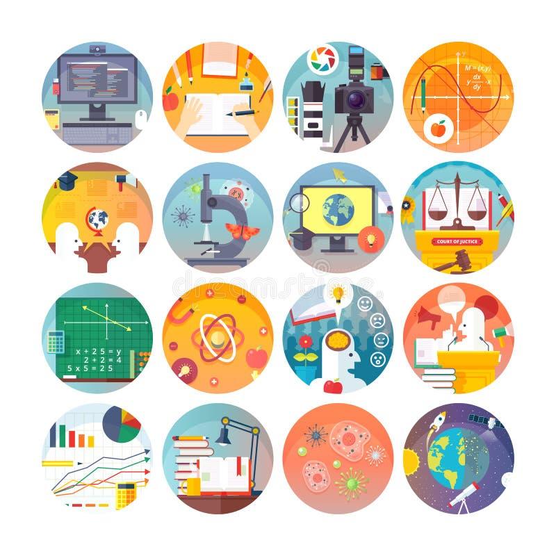 Uppsättning för symboler för utbildnings- och vetenskapslägenhetcirkel Ämnen och vetenskapliga discipliner royaltyfri illustrationer