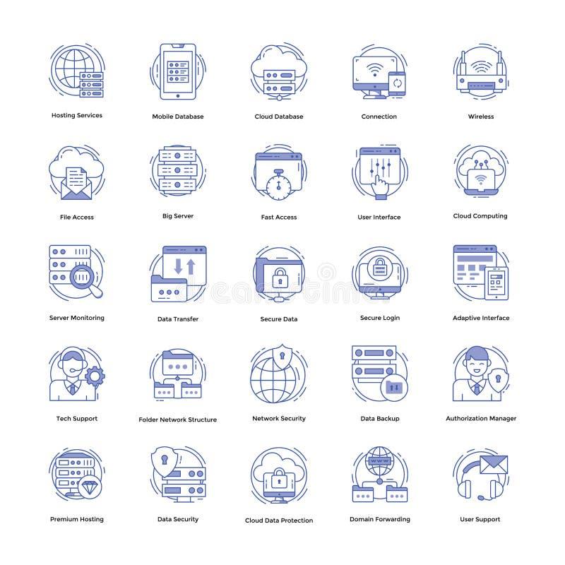 Uppsättning för symboler för vara värd för rengöringsduk royaltyfri illustrationer