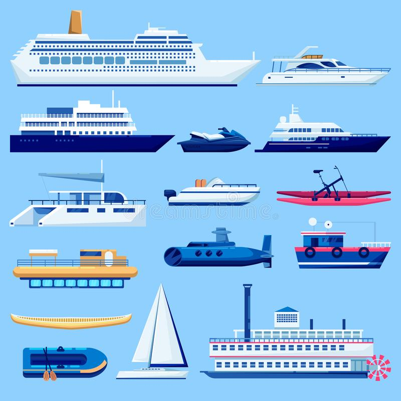 Uppsättning för symboler för vattenskytteltransport Plan medelillustration för vektor Segla fartyg, kryssningskeppet, yacht på bl vektor illustrationer