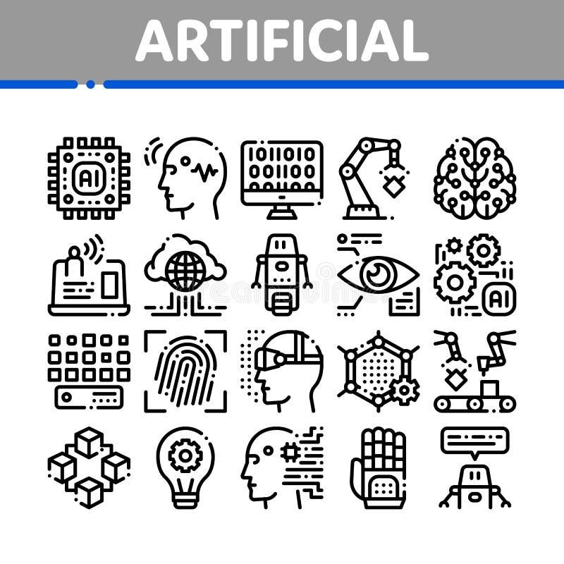 Uppsättning för symboler för vektor för konstgjord intelligens tunn vektor illustrationer