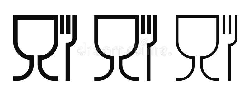 Uppsättning för symboler för vektor för matkvalitet För för vinexponeringsglas och gaffel för mat säkra materiella symboler stock illustrationer