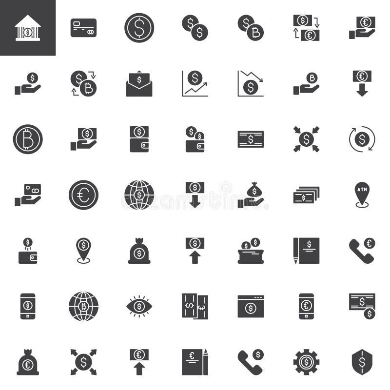 Uppsättning för symboler för vektor för pengarutbyte stock illustrationer