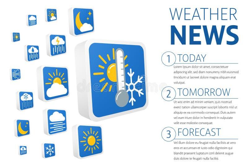 uppsättning för symboler för vektor för prognos för väder 3d stock illustrationer