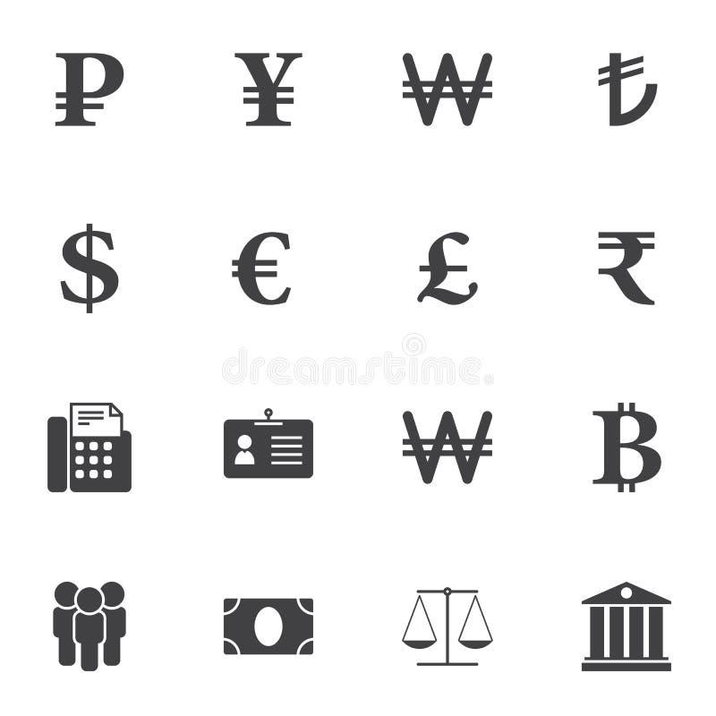 Uppsättning för symboler för vektor för valutapengarutbyte royaltyfri illustrationer
