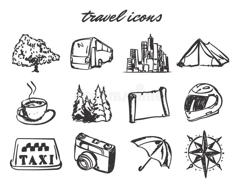 Uppsättning för symboler för vektorklotterlopp royaltyfri illustrationer