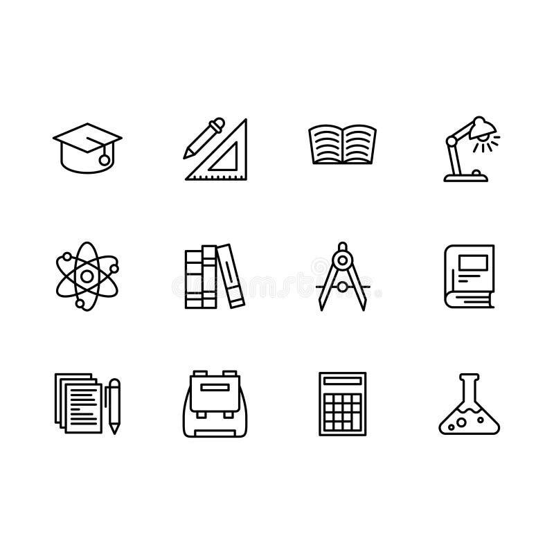 Uppsättning för symboler för vetenskaps- och utbildningsöversiktssymbol enkel Innehåller hatten, linjalen, blyertspennan, böcker  royaltyfri illustrationer