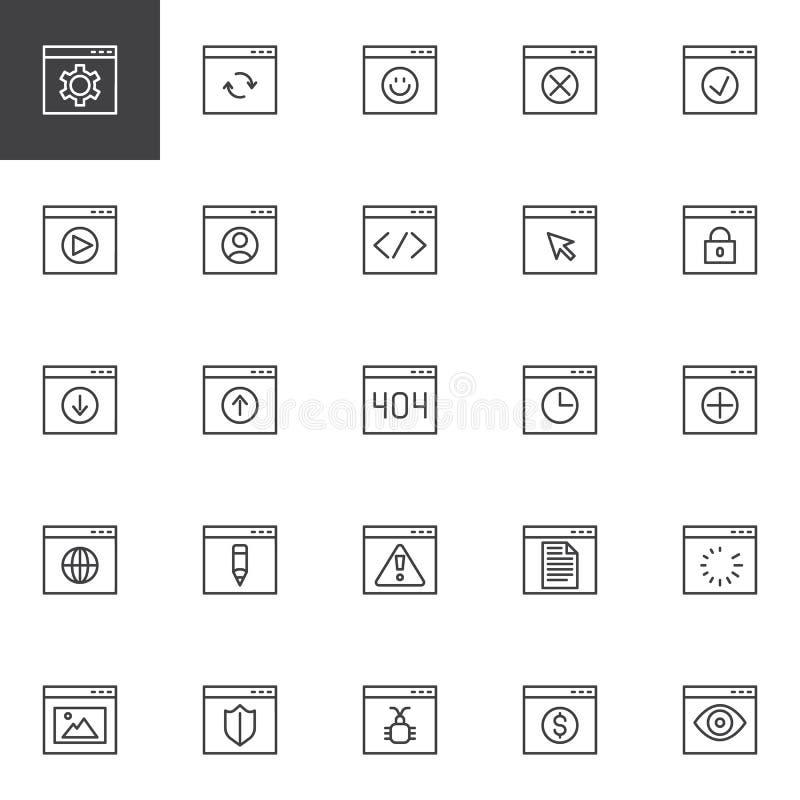 Uppsättning för symboler för webbläsaremanöverenhetsöversikt royaltyfri illustrationer