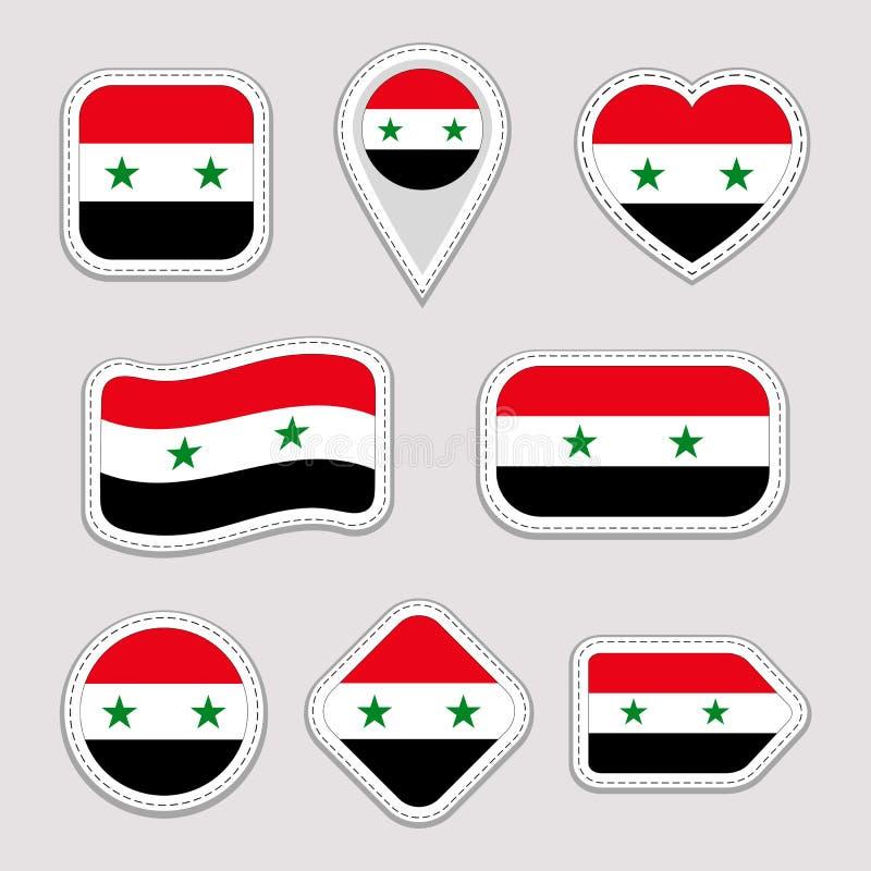 Uppsättning för Syrien flaggaklistermärkear Syrianska emblem för nationella symboler Isolerade geometriska symboler Vektorreprese stock illustrationer